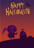 Cute cartoon grim reaper with scythe poster for Halloween party.  Royalty Free Stock Photos
