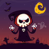 Cute cartoon grim reaper with scythe poster for Halloween party. Simple background with cemetery and full moon. Cute cartoon grim reaper with scythe poster for Stock Photography
