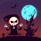 Cute cartoon grim reaper with scythe poster for Halloween party. Simple background with cemetery and full moon.  Stock Images
