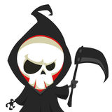 Cute cartoon grim reaper with scythe  on white. Vector illustration.  Stock Images