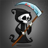 Cute cartoon grim reaper with scythe  on white. Vector illustration. Cute cartoon grim reaper with scythe  on white. Vector illustration Stock Photo