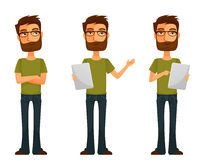 Cute cartoon guy with beard and glasses Stock Photography