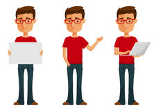 Cute cartoon guy in various poses Stock Images