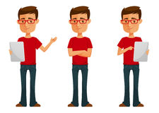 Free Cute Cartoon Guy With Tablet Stock Photography - 66375552