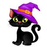 Cute cartoon halloween black cat in hat stock photography