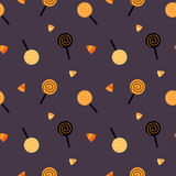 Cute cartoon halloween candies seamless pattern background illustration Stock Photos