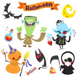 Cute cartoon halloween characters icon set.Frankenstein, pumpkin royalty free illustration