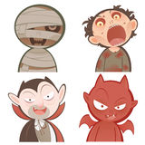 Cute cartoon halloween characters icon set Royalty Free Stock Photography
