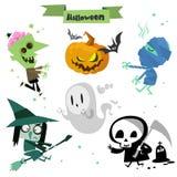 Cute cartoon Halloween characters icon set Royalty Free Stock Image