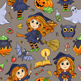 Cute cartoon Halloween hand-drawn seamless pattern Royalty Free Stock Photos