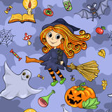 Cute cartoon Halloween seamless pattern with flying witch Royalty Free Stock Images