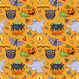 Cute cartoon Halloween seamless pattern orange Stock Photo