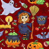 Cute cartoon Halloween seamless pattern red Royalty Free Stock Photo