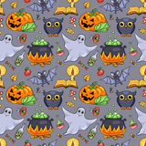 Cute cartoon Halloween seamless pattern Stock Photo