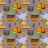 Cute cartoon Halloween seamless pattern Stock Image