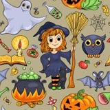 Cute cartoon Halloween seamless pattern Royalty Free Stock Photos