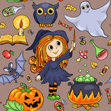 Cute cartoon Halloween seamless pattern Royalty Free Stock Photography