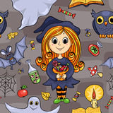 Cute cartoon Halloween seamless pattern Royalty Free Stock Images