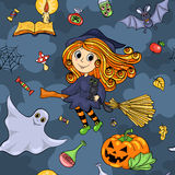 Cute cartoon Halloween seamless pattern with witch Royalty Free Stock Photos