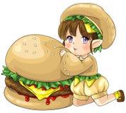 Cute cartoon hamburger elf, the goddess of food Royalty Free Stock Photo