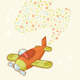 Cute cartoon hand-drawn airplane Stock Image
