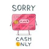 Cute cartoon hand drawn credit card character. Stock Image