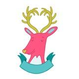 Cute cartoon hand drawn deer illustration Royalty Free Stock Photography