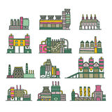 Cute cartoon hand drawn doodle factory set. Ironworks,engineeri ng plant, brickworks, glassworks, steelworks Stock Photo