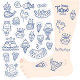 Cute cartoon hand drawn doodle tattoo set Stock Photography