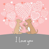 Cute cartoon hand drawn illustration with dogs in love. Vector illustration Stock Photos