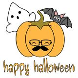 Cute cartoon hand drawn lettering happy halloween vector card  Royalty Free Stock Photography