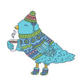 Cute cartoon hand drawn Merry Christmas bird Stock Image