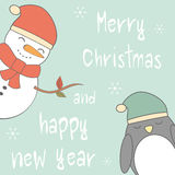 Cute cartoon hand drawn merry christmas and happy new year card with snowman and penguin Stock Images