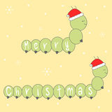 Cute cartoon hand drawn merry christmas lettering greeting card with caterpillars with santa claus hat illustration Royalty Free Stock Photos