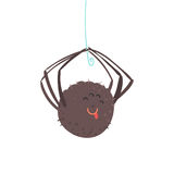 Cute cartoon hanging spider character vector Illustration Royalty Free Stock Photo