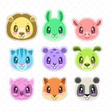 Cute cartoon happy animal faces set. Vector childish patches template Royalty Free Stock Image