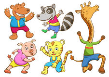 Cute cartoon happy animal set Stock Images