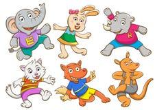 Cute cartoon happy animal set. Stock Image