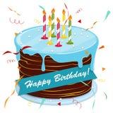 Blackboard with a congratulation. Festive hat. Vector. Cute cartoon happy birthday cake with candles. Blackboard with a congratulation. Festive hat. Vector Stock Photo