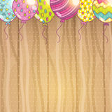 Cute cartoon Happy Birthday card with balloons. Royalty Free Stock Images