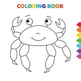 Cute cartoon happy cancer animal coloring book for kids. black and white vector illustration for coloring book. happy cancer
