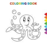 Cute cartoon happy oscar ocean animal coloring book for kids. black and white vector illustration for coloring book. happy oscar