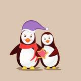 Cute cartoon of happy penguin couple. Stock Photography