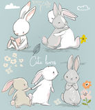 6 cute cartoon hares. Set with 6 cute little cartoon hares Royalty Free Stock Image