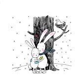 Cute cartoon hares. Winter. Hand drawing isolated objects on white background. Vector illustration. Text Stock Photos