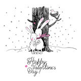 Cute cartoon hares. Winter. Hand drawing isolated objects on white background. Vector illustration. Text Happy Valentine s Day Stock Image