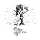 Cute cartoon hares. Winter. Hand drawing isolated objects on white background. Vector illustration. Text Happy Valentine s Day Royalty Free Stock Photography