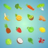 Cute cartoon Healthy food icons. Set of vegetarian foods. Vector Royalty Free Stock Images