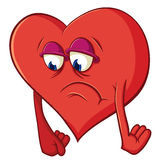 Cute cartoon heart in depression Stock Photo
