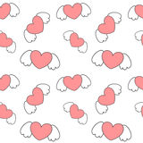 Cute cartoon heart with wings valentine romantic seamless pattern background illustration Royalty Free Stock Photos